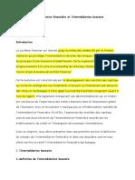 L'Intermediation Financiere Et l'Intermédiation Bancaire