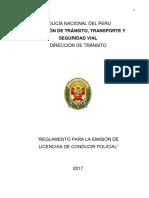 Reglamento Para La Emision de Licencias de Conducir Policial