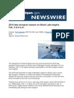 2018 lake sturgeon season on Black Lake begins Feb. 3 at 8 a.m.