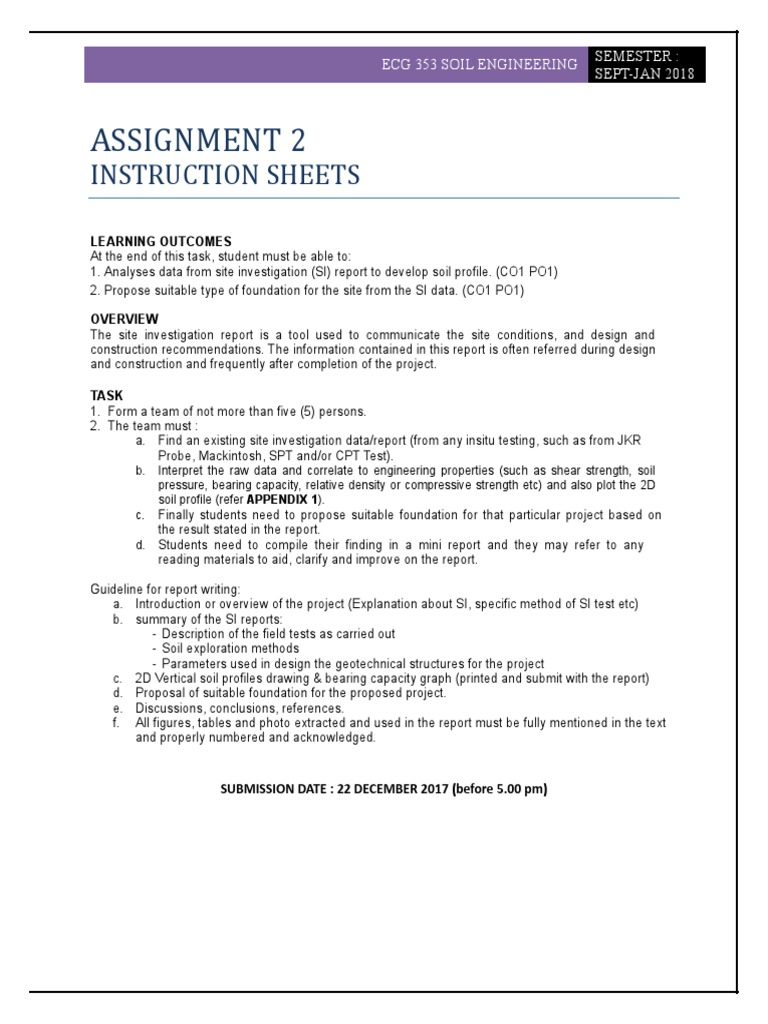 ECG353_ Question & Rubric Assignment 2 | Geotechnical
