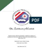 Relación entre los estilos de aprendizaje y rendimiento académico en estudiantes de Enfermería y Nutrición Humana de la Universidad Peruana Unión
