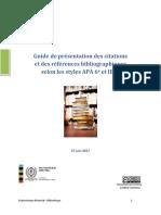 Guide de Presentation Des Citations Selon Le Style APA 6e