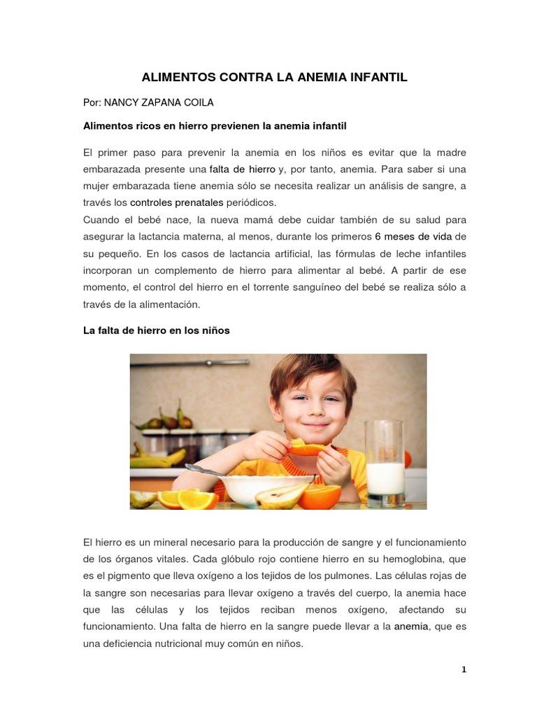 Dieta para combatir anemia infantil