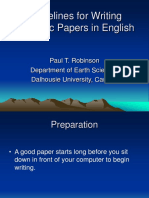 Guidelines for Writing Scientific Papers in English