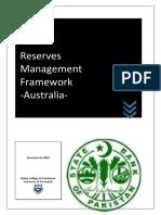 Reserve Managment Framwork - Australia