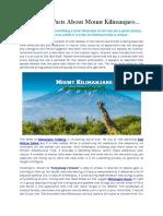 Interesting Facts About Mount Kilimanjaro
