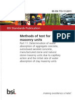 [BS en 772-11-2011] -- Methods of Test for Masonry Units. Determination of Water Absorption of Aggregate Concrete, Autoclaved Aerated Concrete, Manufactured Stone and