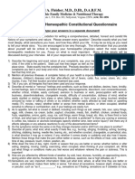 Comprehensive Homeopathic Constitutional Questionnaire