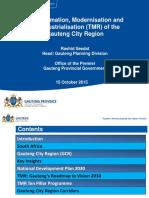 TMR of the GCR - Transformation, modernization, reindustrialisation of the Gauteng City-Region