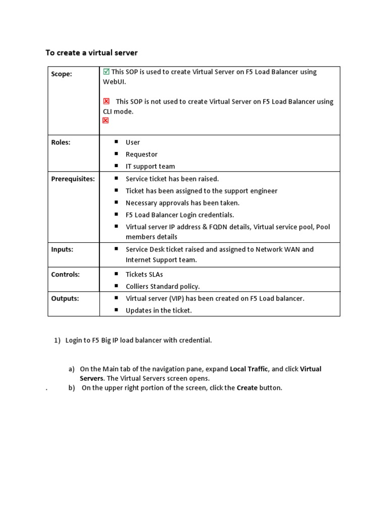 F5 Documentation SOP | Load Balancing (Computing) | Transport Layer