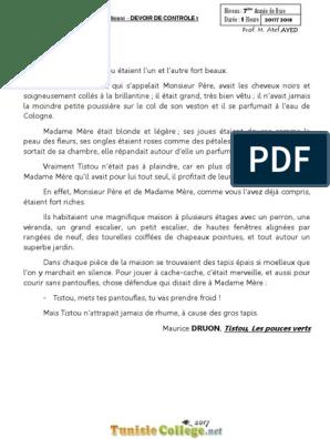 Devoir De Controle N 1 Francais 7eme 2017 2018 Mr Atef