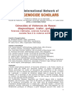 APPEL à CONTRIBUTION 6e Global Conference on Genocide INoGS