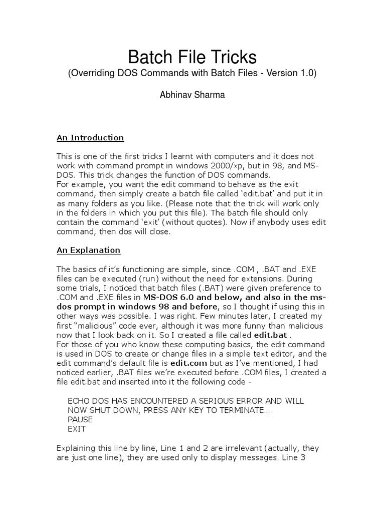 Batch File Tricks | X86 Architecture | Intellectual Works