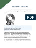 Series 500 Universal Orifice Plates & Seal Rings
