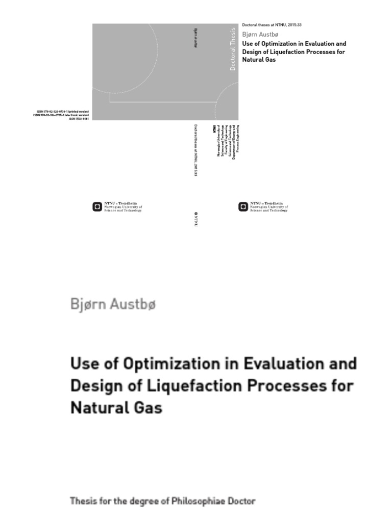 use of optimization in evaluation and design of liquefaction processes for natural gas by bjorn austbo phdpdf mathematical optimization liquefied