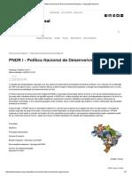 Política Nacional de Desenvolvimento Regional - Integração Nacional