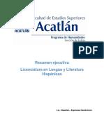 Resumen ejecutivo - Licenciatura en Lengua y Literatura Hispánicas