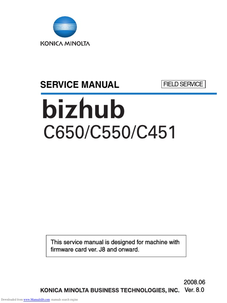 SERVICE MANUAL Bizhub C650/C550/C451 | Electrical Connector | Ac Power  Plugs And Sockets