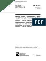 NBR 14 - Cimento - Analise Quimica - Metodo de Arbitragem Para Determinacao de Dioxido de Silicio