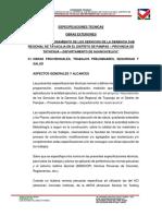 ESPECIFICACIONES TÉCNICAS Obras Exteriores - Obras Provisionales