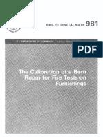 1978 NBS TN981 Calibration of a Burn Room
