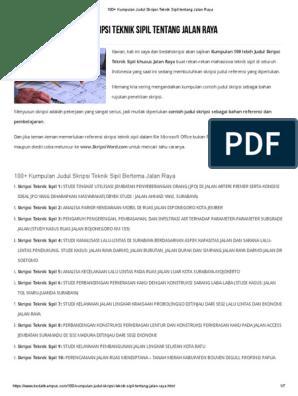 100 Kumpulan Judul Skripsi Teknik Sipil Tentang Jalan Raya