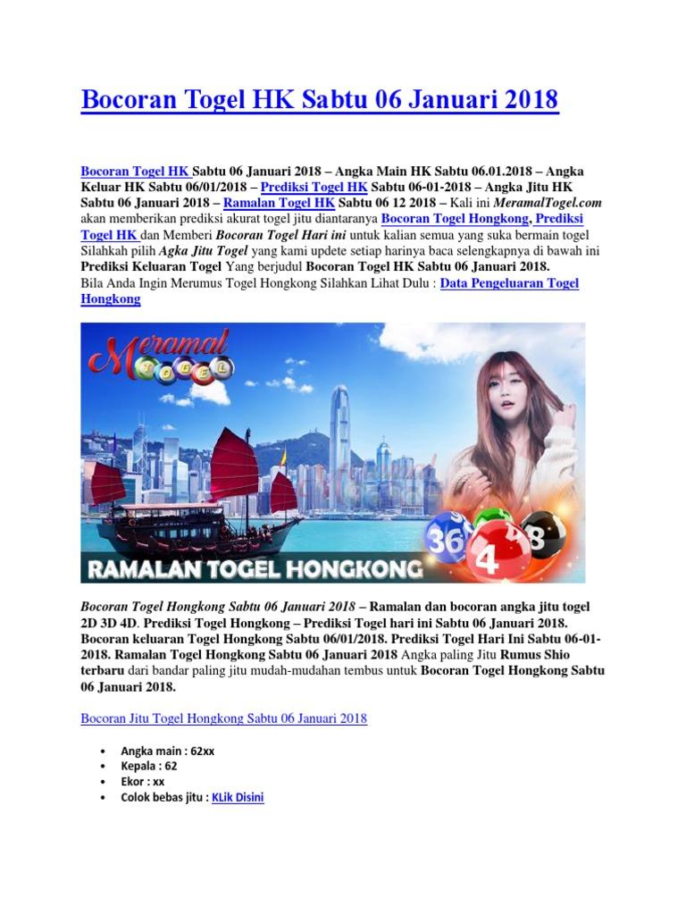 Bocoran Togel HK Sabtu 06 Januari 2018