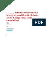 Reciente Modificación Del Art- 25 Del Código Penal Sobre Complicidad