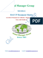 Required list of Documents for HACCP Certification