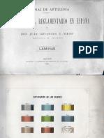 Materia de Artilleria. Descripcion del Reglamentario en España. Laminas.