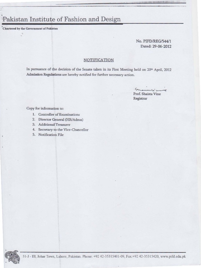 Pakistan Institute Of Fashion And Design Pifd Admission Regulations Academic Term Course Credit