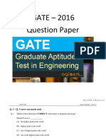 GATE 2016 Question Papers for EC - S1