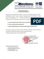 Surat Edaran Wr i No. 59 Ttg Ketentuan Mengikuti Cp 2 Smt Gasal Ta 17-18