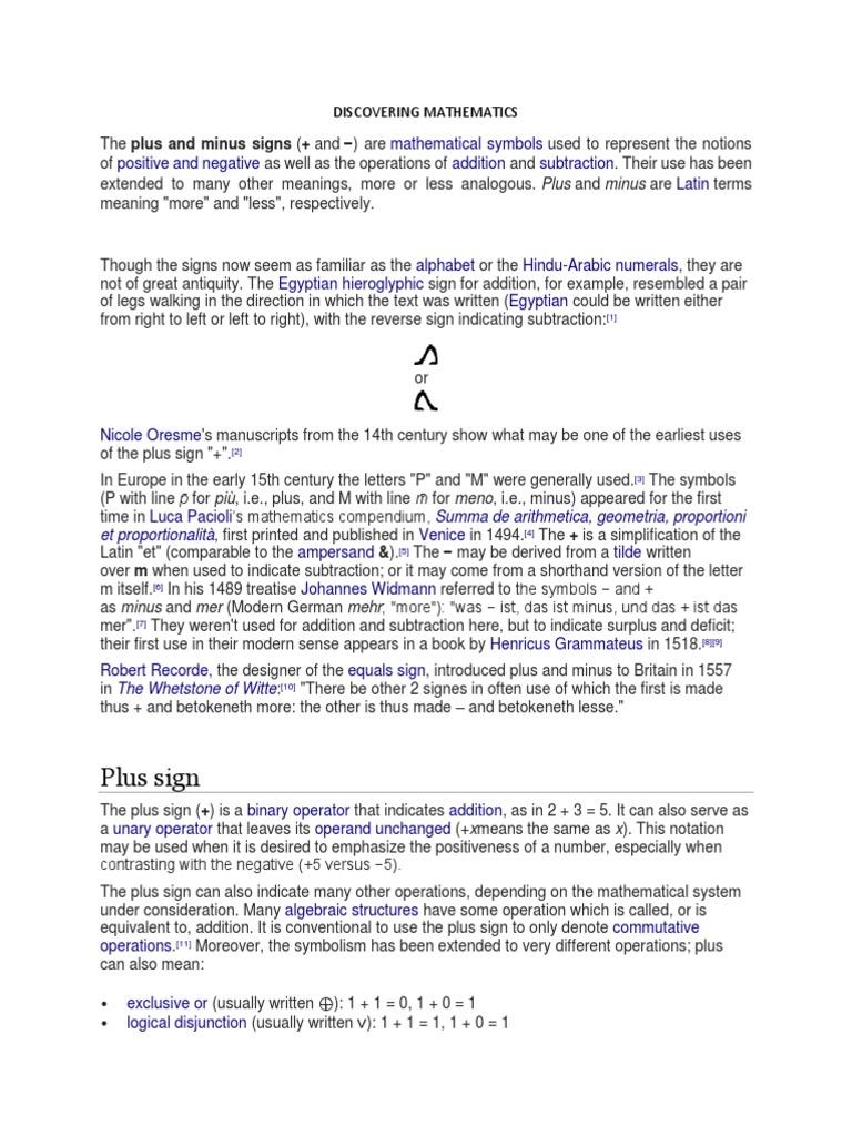 Discovering Mathematics Notation Mathematical Notation