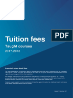 Tuition Fees for Taught Courses 2017 2018