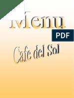 Cafe del Sol Italian/Thai Restaurant - Menu