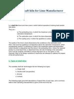 Different Shaft Kiln for Lime Manufacturer