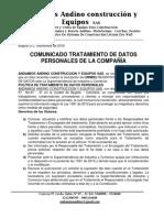 Politica de Proteccion de Datos, Andamios Andino