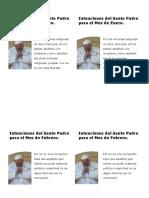 2018 Intenciones Sumo Pontífice