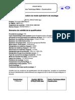 Certificat de Qualification Du Mode Opératoire de Soudage Cevital MS QMOS N3