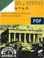 Adolfo J Dominguez Monedero Jose Pascual Gonzales Esparta y Atenas en El Siglo v a C