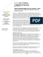 Oakland's Minimum W age  Goes Up January 1, 2018