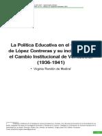 RONDÓN, Virginia. La Política Educativa Del Gobierno de López Contreras