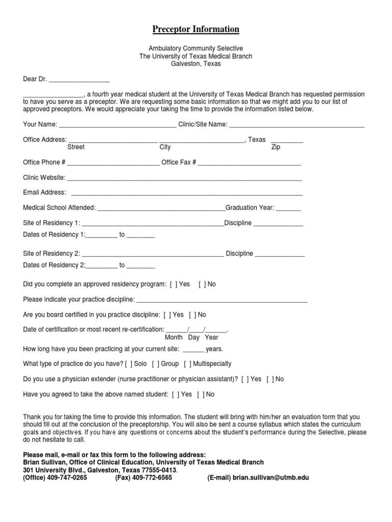Acs preceptor info form residency medicine physician xflitez Choice Image