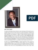 Dr. Tony Rapu - An agent of change!