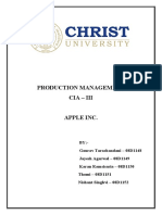 Production Management Report