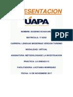 Metodologiacion de La Investigacion Unidad #3