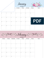 (A4) Floral - 2018 Monthly Calendar
