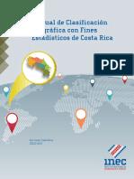 Manual de Clasificación Geográfica con Fines Estadísticos Costa Rica