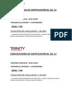 Convocatoria de Certificación b1